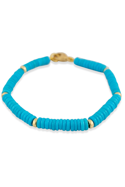 Sleeping Beauty Turquoise and Gold Bracelet - 7""