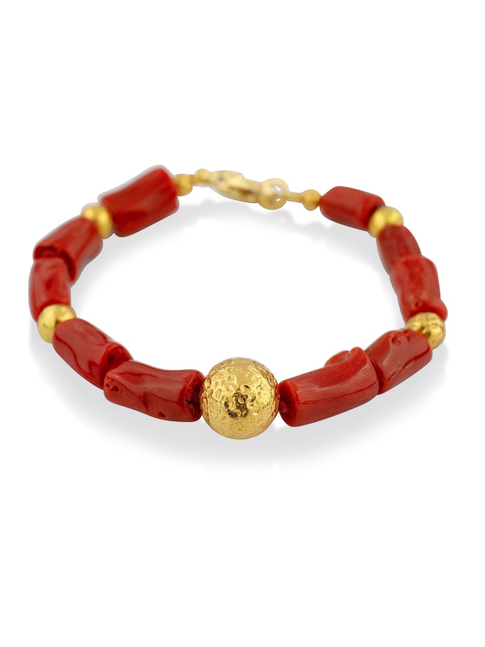 """Red Coral and Gold Bracelet - 7""""-1"""