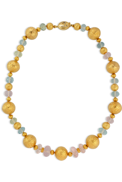 "Large Gold Ball Aquamarine Beryl & Morganite Necklace - 22"""