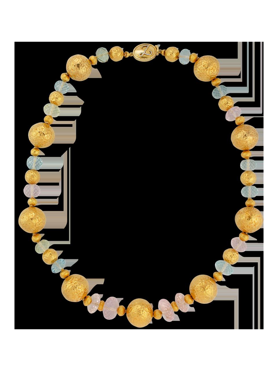 "Large Gold Ball Aquamarine Beryl & Morganite Necklace - 22""-1"