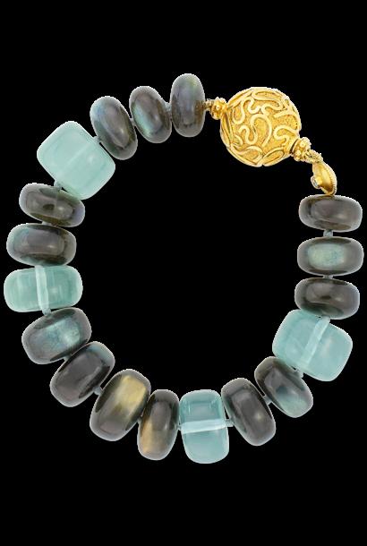 """Labradorite & Aquamarine Bracelet - 7"""""""