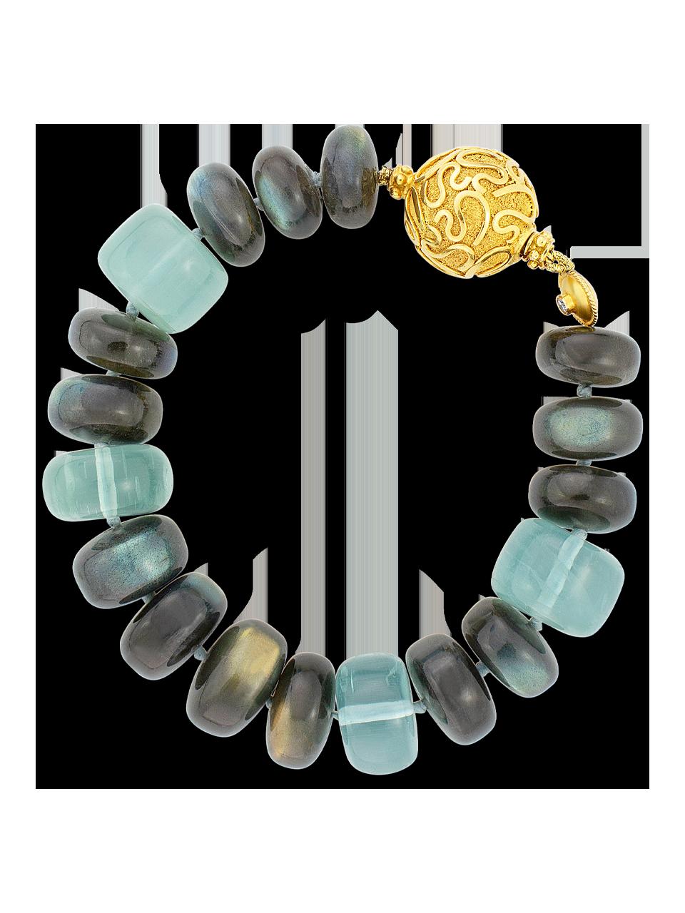 """Labradorite & Aquamarine Bracelet - 7""""-1"""