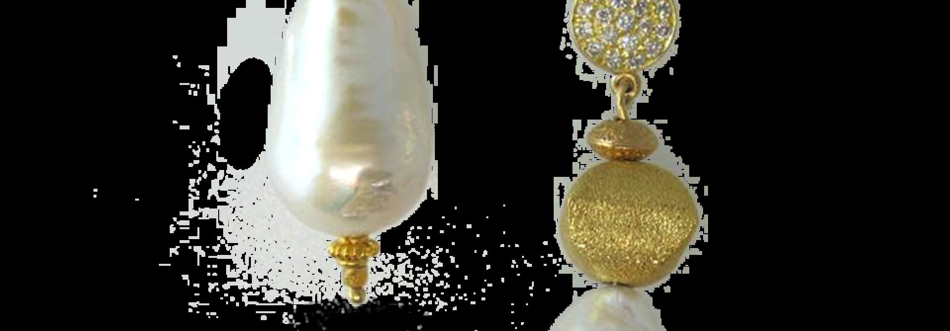 Baroque Pearl, Gold & Diamond Earrings