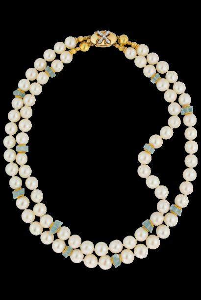 South Sea Pearl & Aquamarine Necklace - 2 Strands