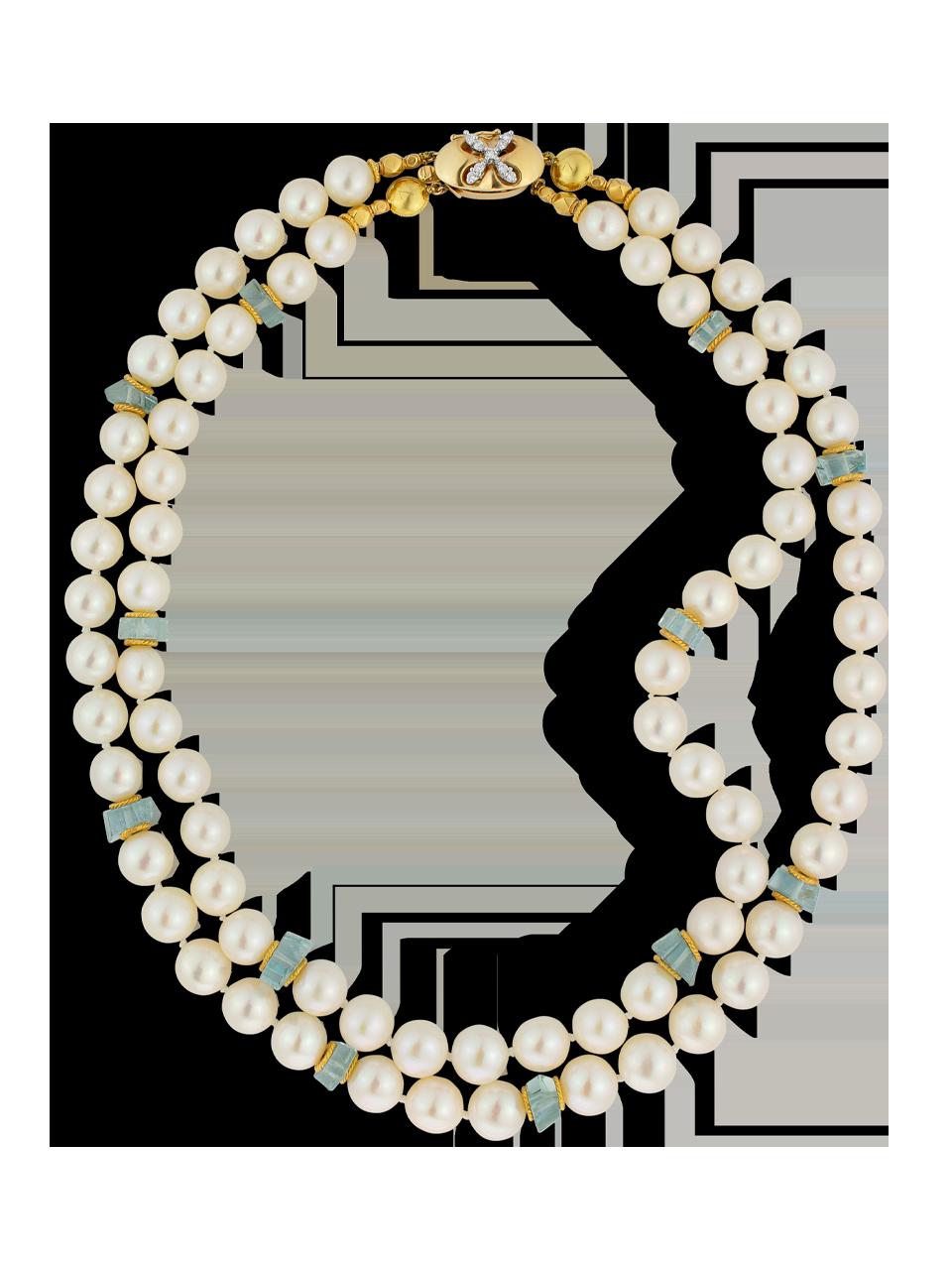 South Sea Pearl & Aquamarine Necklace - 2 Strands-1