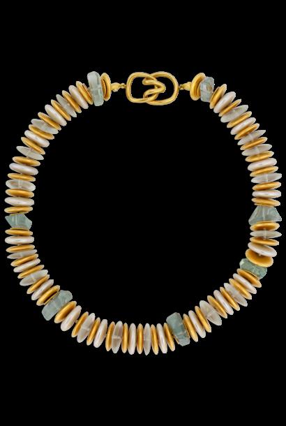 "Coin Pearl & Aquamarine Necklace - 18"""