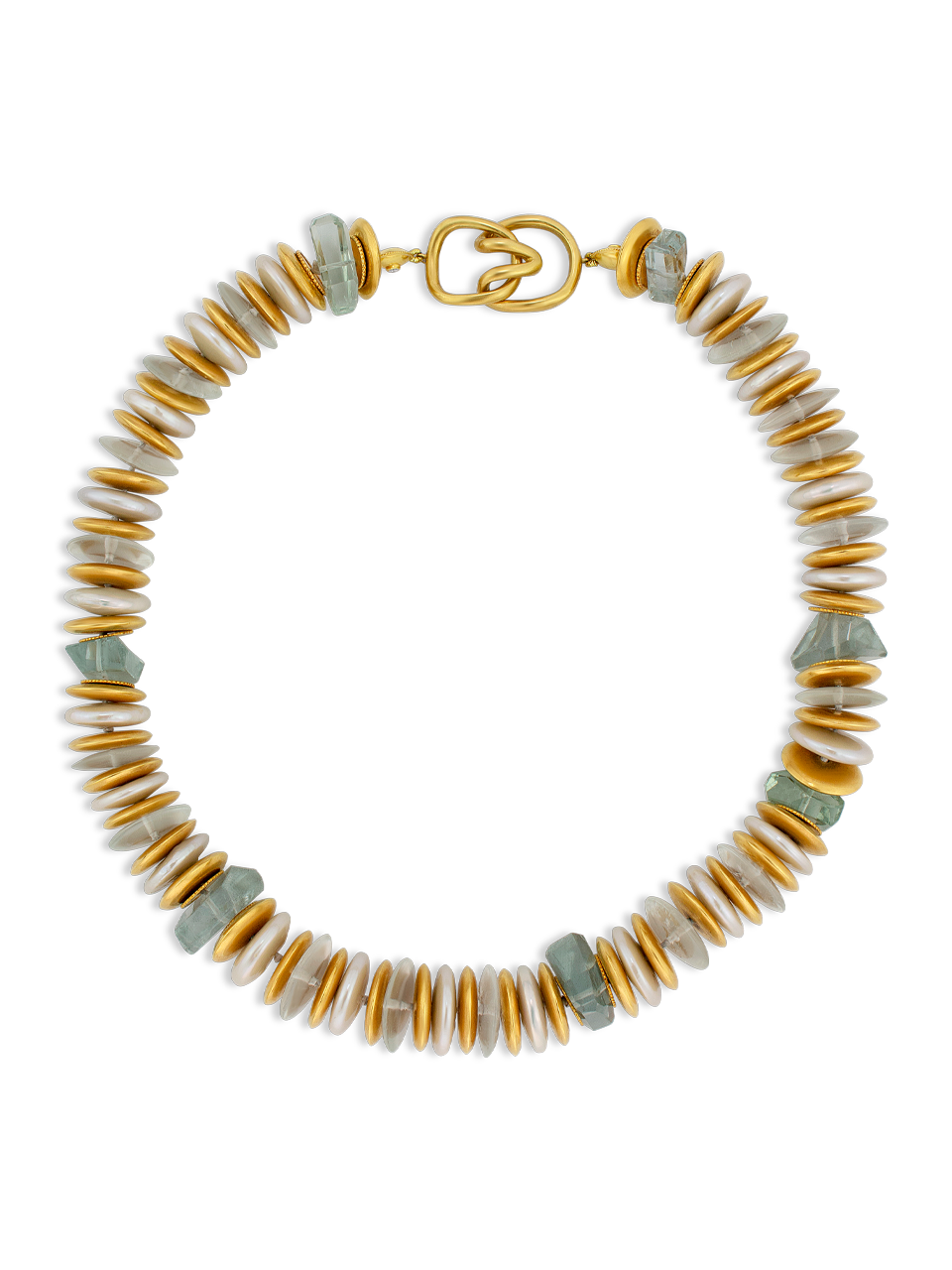 "Coin Pearl & Aquamarine Necklace - 18""-1"