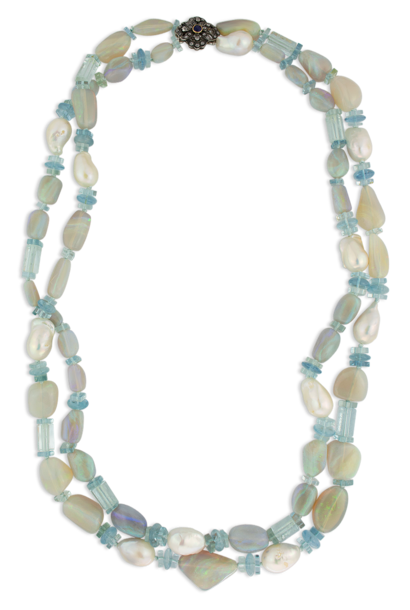 """Crystal Opal, Aquamarine & Pearl Necklace 