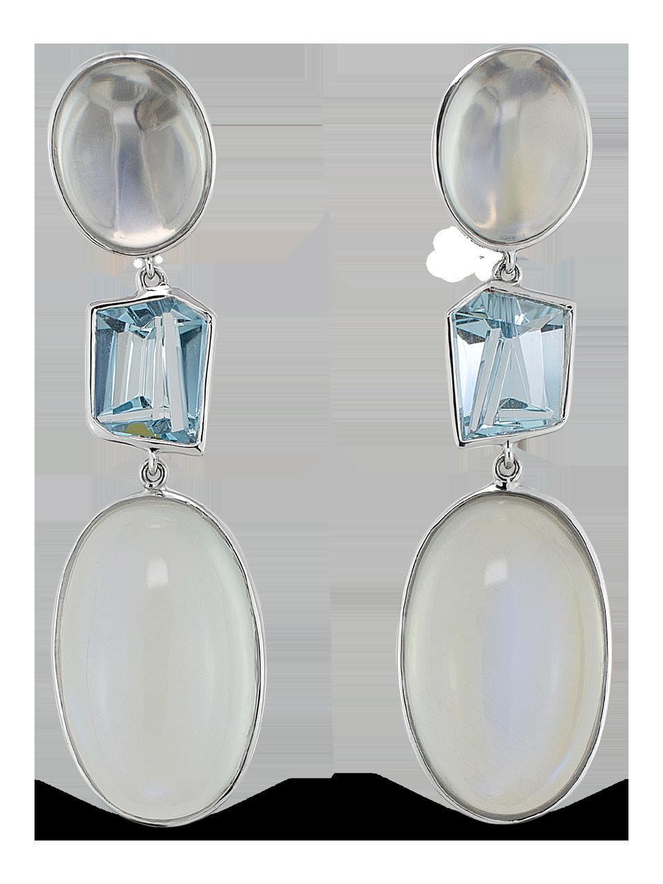 Moonstone & Aquamarine Earrings-1