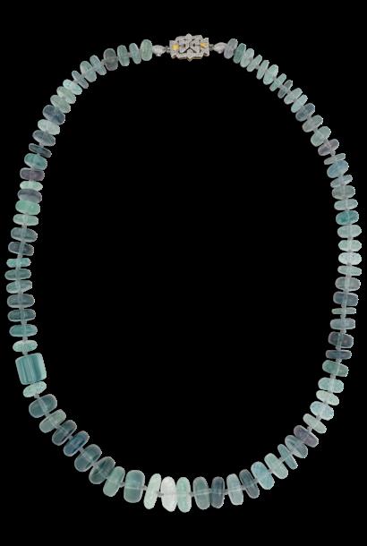 "Blue Tourmaline and Aquamarine Necklace - 25"""