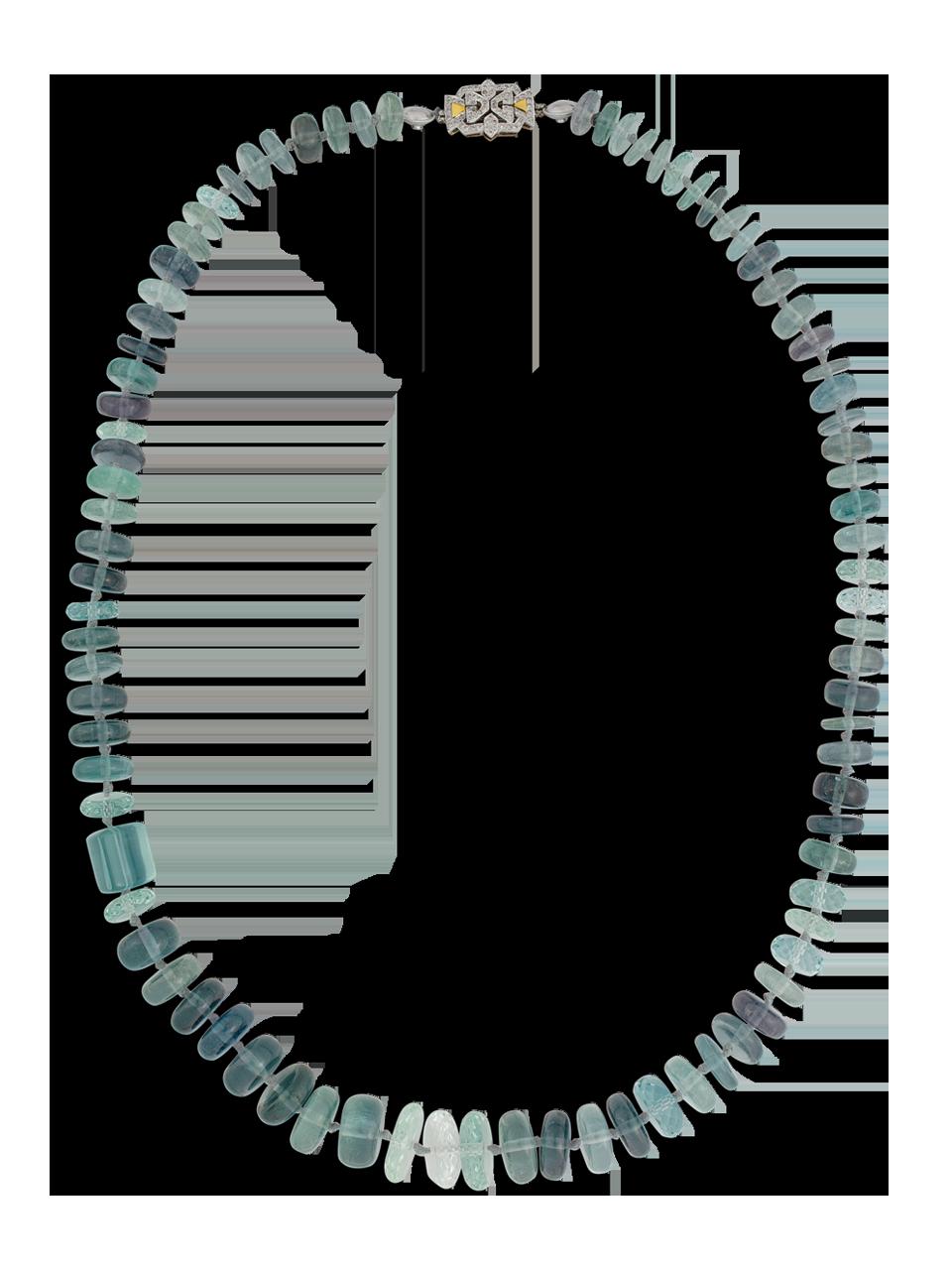 "Blue Tourmaline and Aquamarine Necklace - 25""-1"