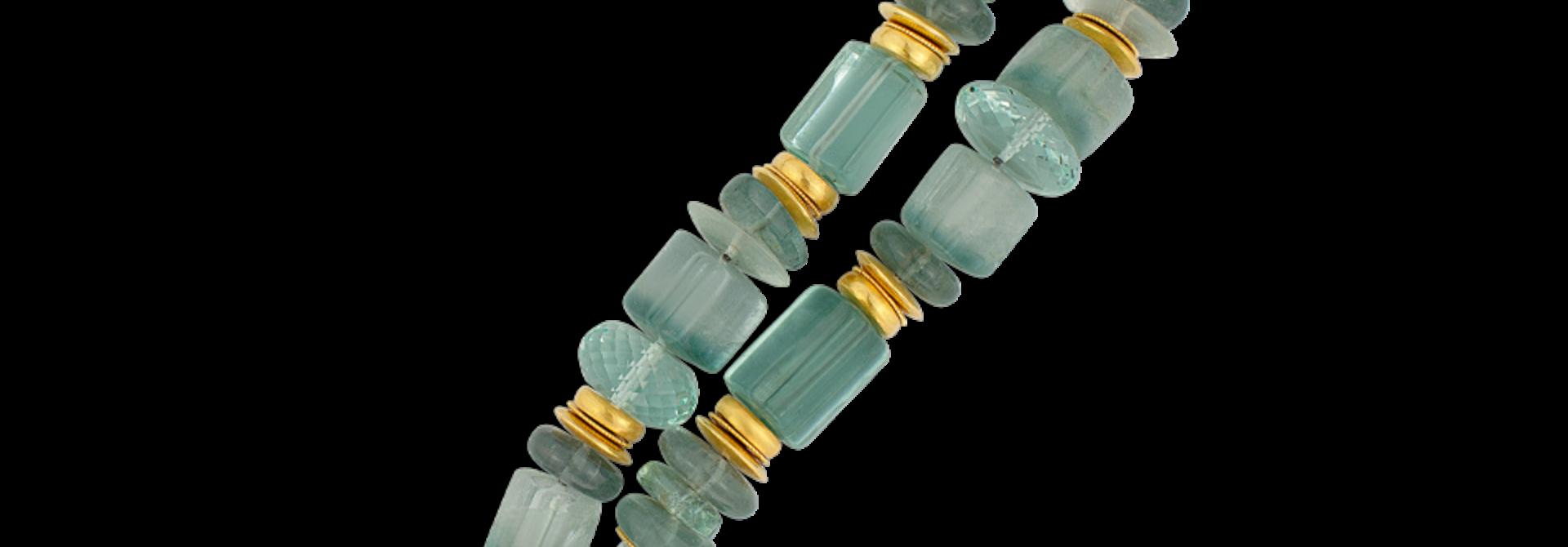 "Aquamarine & Tourmaline Necklace - 21"""