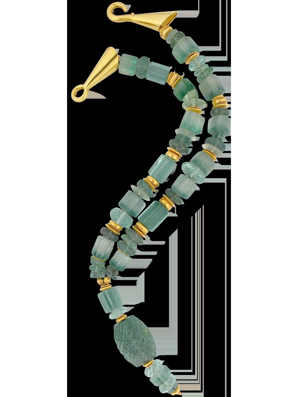 "Aquamarine & Tourmaline Necklace - 21""-1"