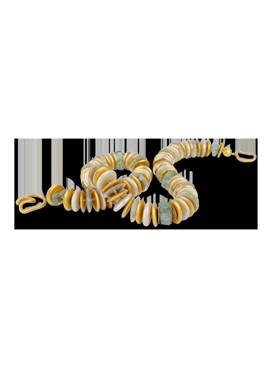 "Coin Pearl & Aquamarine Necklace - 18""-3"