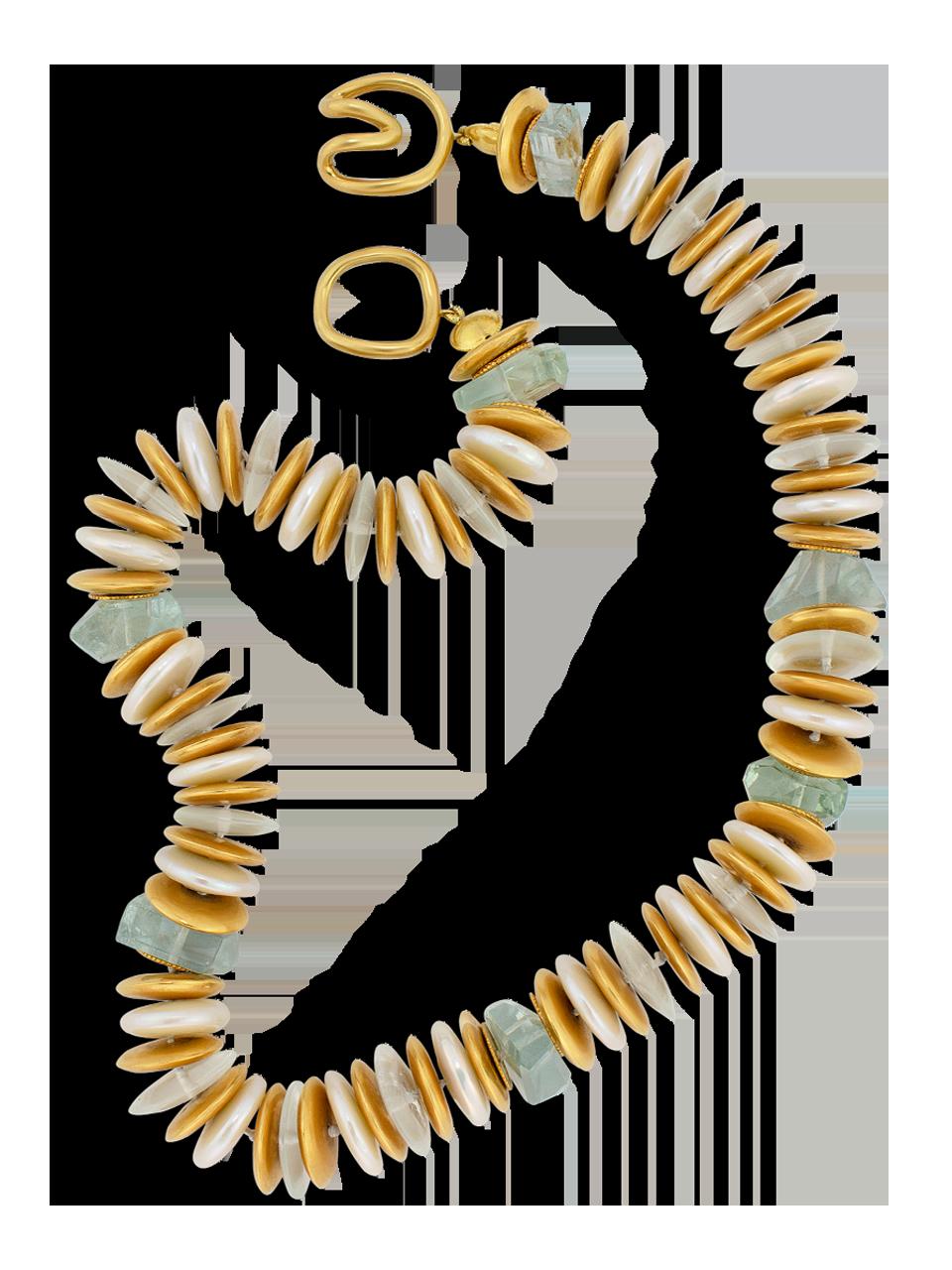 "Coin Pearl & Aquamarine Necklace - 18""-2"