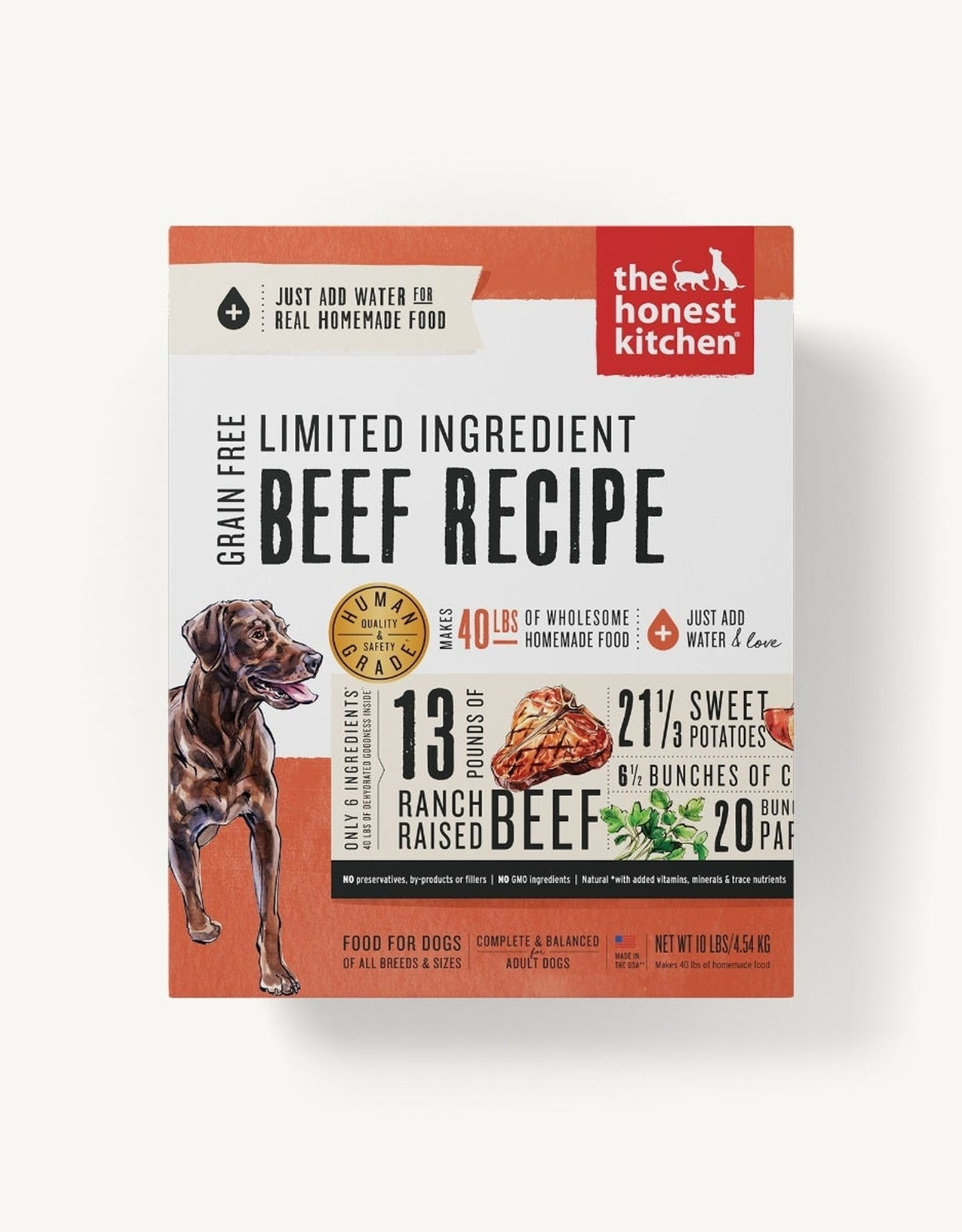 THE HONEST KITCHEN The Honest Kitchen | Limited Ingredient Diet Beef Recipe Grain-Free Dehydrated Dog Food (Hope) 4 lb box