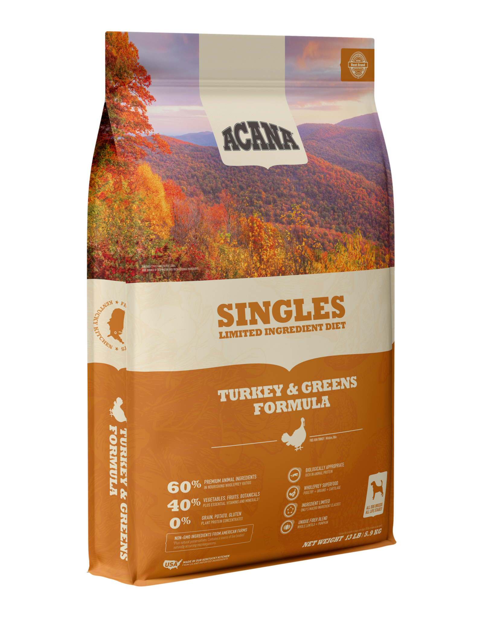 Acana Acana Dry Dog Food Singles Turkey & Greens Formula Limited Ingredient Diet Grain Free