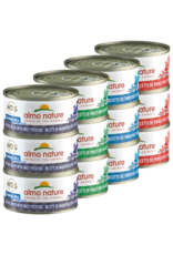 Almo Nature Almo Nature HQS Complete Wet Cat Food Variety Pack 12 x 2.47oz Cans Grain Free - Mackerel with Sweet Potatoes, Chicken with Duck, Chicken with Green Beans, Tuna with Sardines