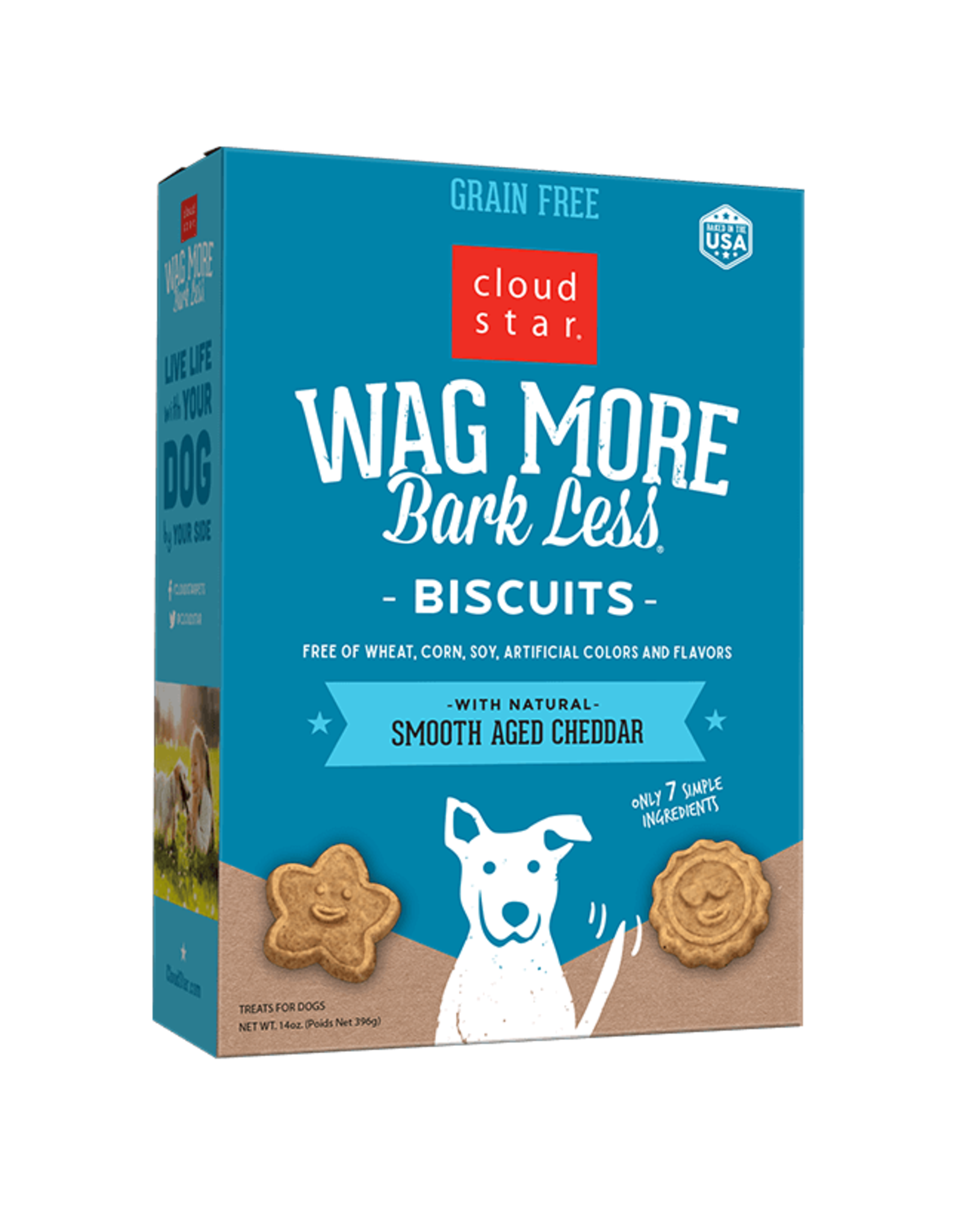Cloud Star Wag More Bark Less Grain Free Oven Baked Dog Biscuits with Smooth Aged Cheddar 14oz