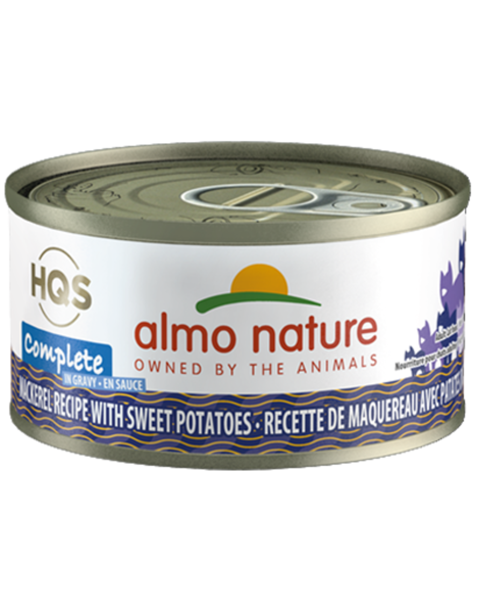 Almo Nature Almo Nature HQS Complete Wet Cat Food Mackerel Recipe with Sweet Potatoes in Gravy 2.47oz Can Grain Free