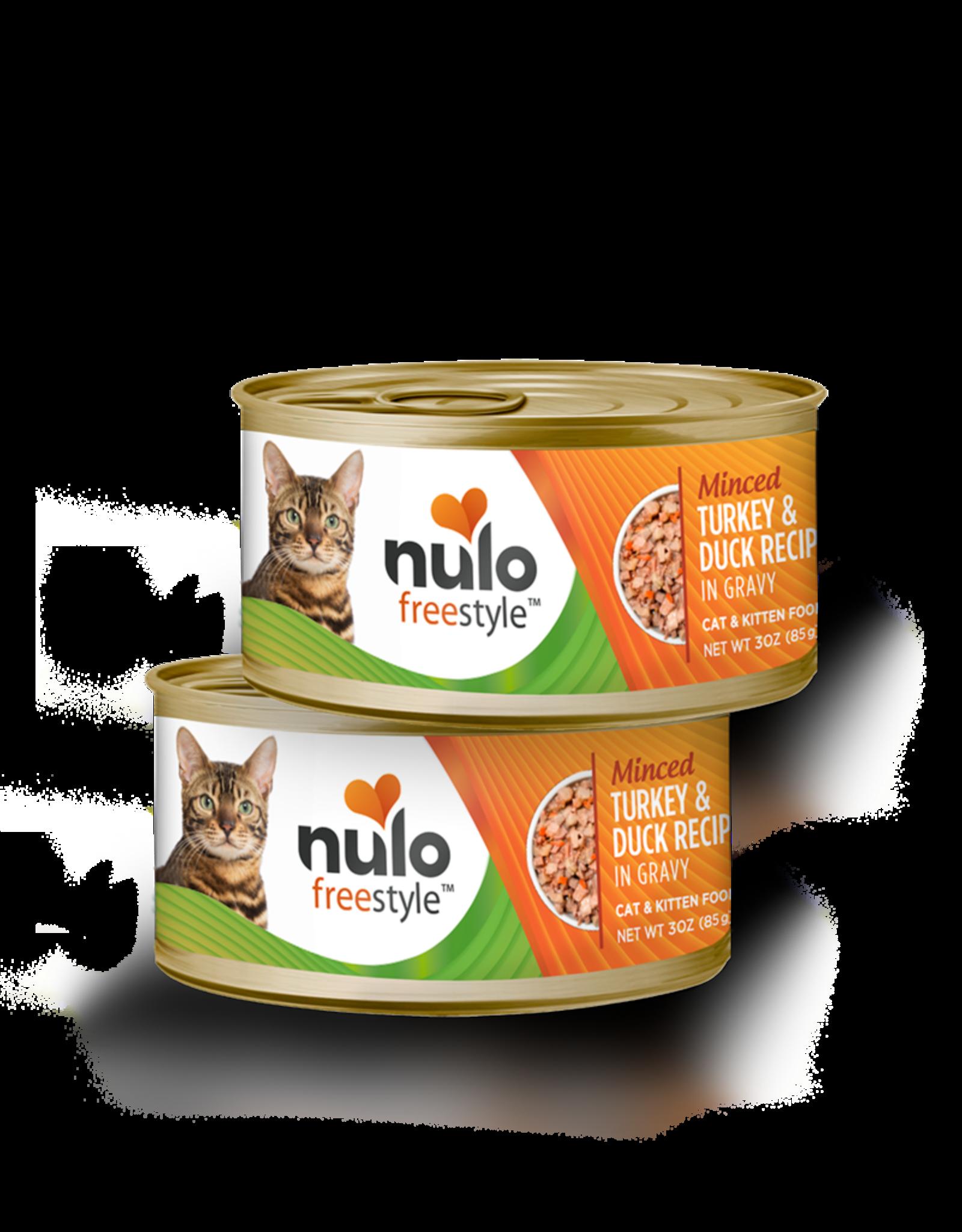 Nulo Nulo Freestyle Wet Cat Food Minced Turkey & Duck Recipe in Gravy 3oz Can Grain Free