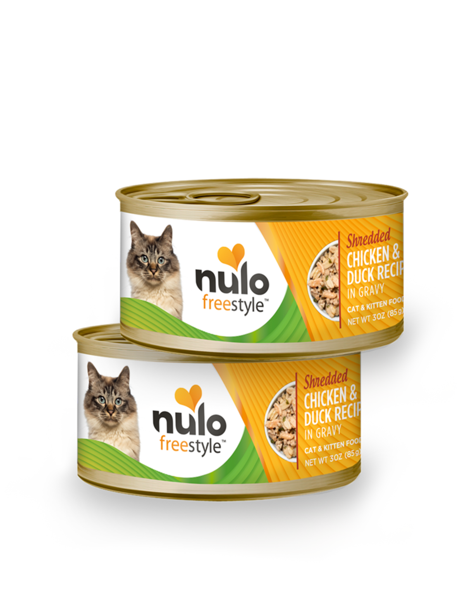 Nulo Nulo Freestyle Wet Cat Food Shredded Chicken & Duck Recipe in Gravy 3oz Can Grain Free