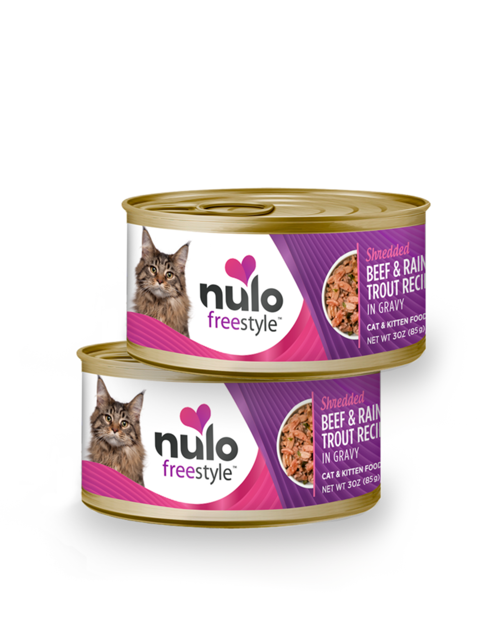 Nulo Nulo Freestyle Wet Cat Food Shredded Beef & Rainbow Trout Recipe in Gravy 3oz Can Grain Free