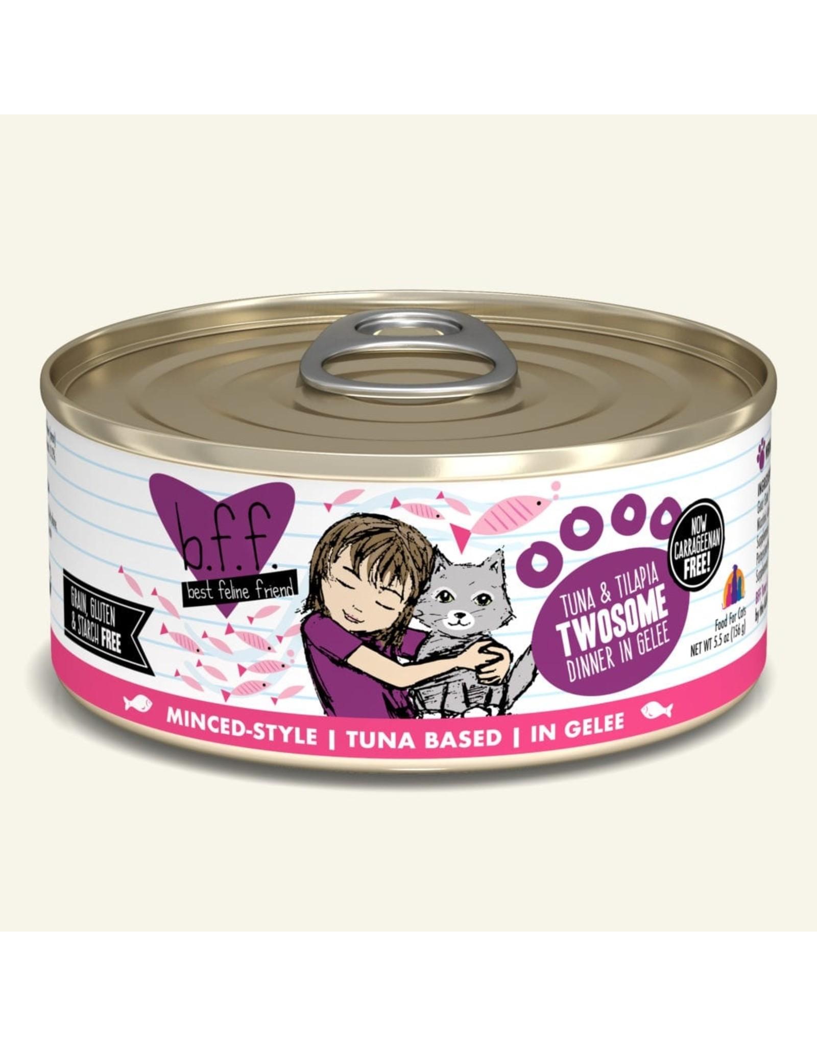 Weruva BFF Weruva B.F.F. Best Feline Friend Originals Wet Cat Food Twosome Tuna & Tilapia Dinner in Gelée 5.5oz Can