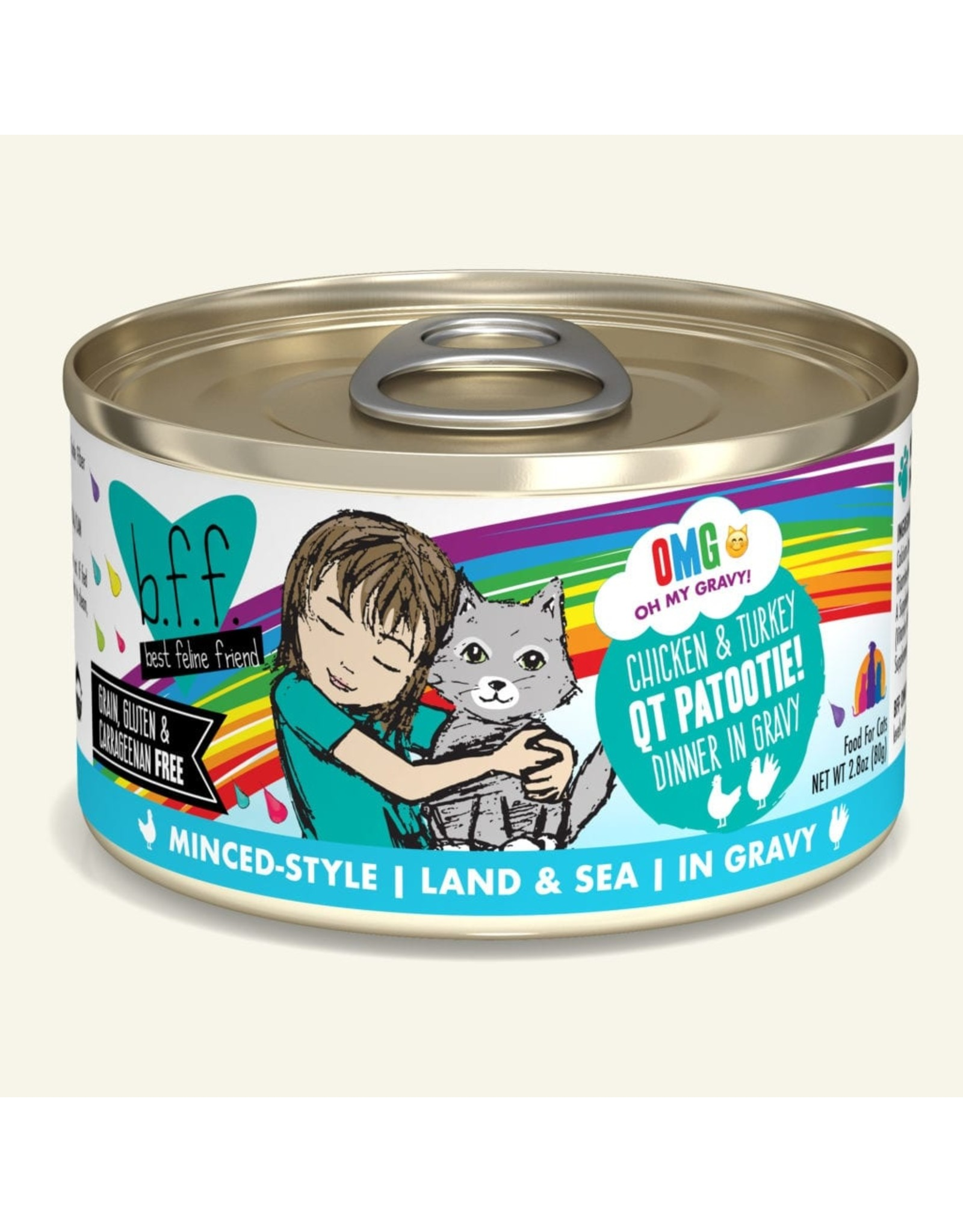 Weruva BFF Weruva B.F.F. OMG Best Feline Friend Oh My Gravy Wet Cat Food QT Patootie! Chicken & Turkey Dinner in Gravy 3oz Can