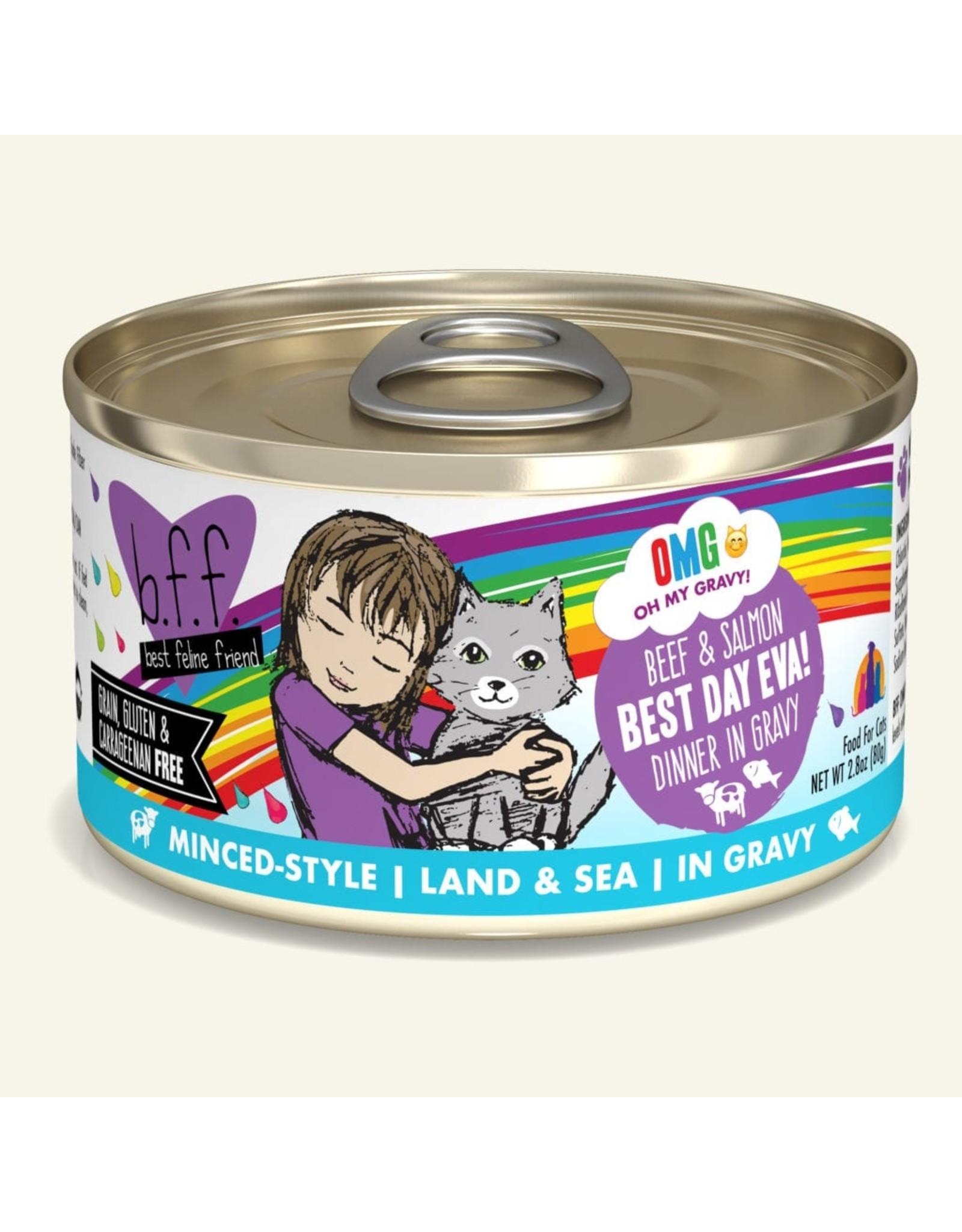 Weruva BFF Weruva B.F.F. OMG Best Feline Friend Oh My Gravy Wet Cat Food Best Day Eva! Beef & Salmon Dinner in Gravy 3oz Can
