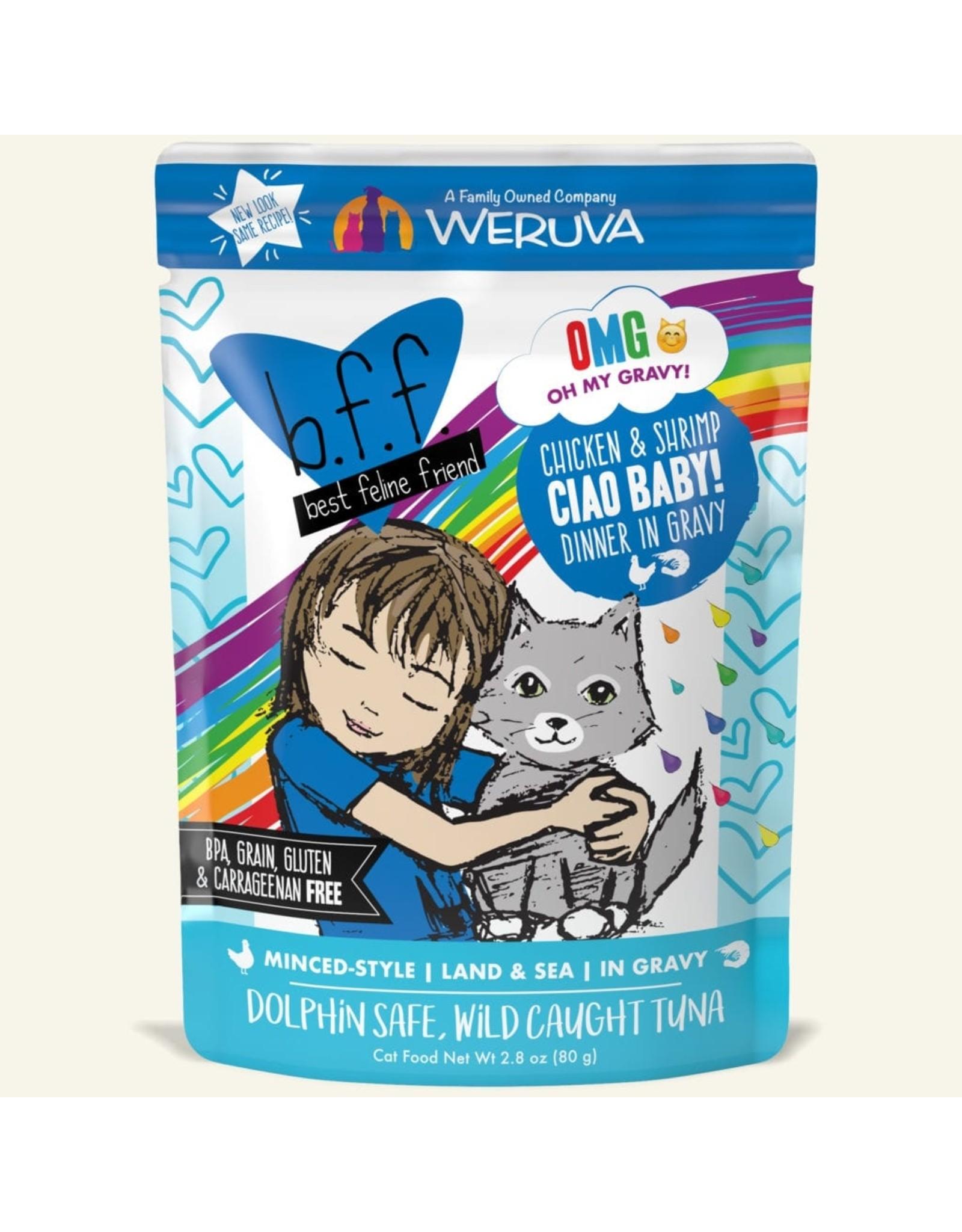Weruva BFF Weruva B.F.F. OMG Best Feline Friend Oh My Gravy Wet Cat Food Ciao Baby! Chicken & Shrimp Dinner in Gravy 2.8oz Pouch