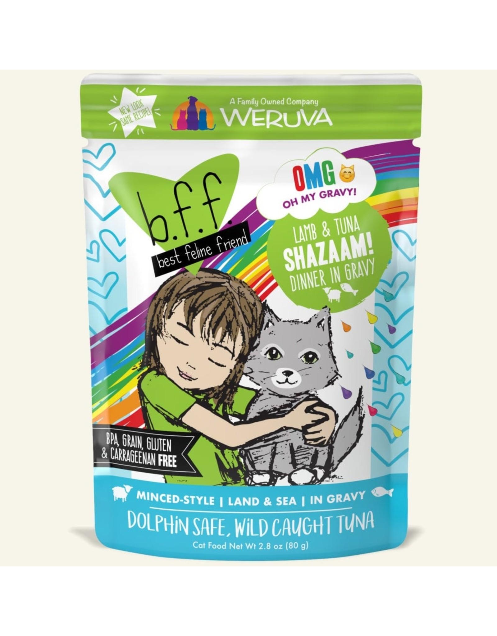 Weruva BFF Weruva B.F.F. OMG Best Feline Friend Oh My Gravy Wet Cat Food Shazaam! Lamb & Tuna Dinner in Gravy 2.8oz Pouch
