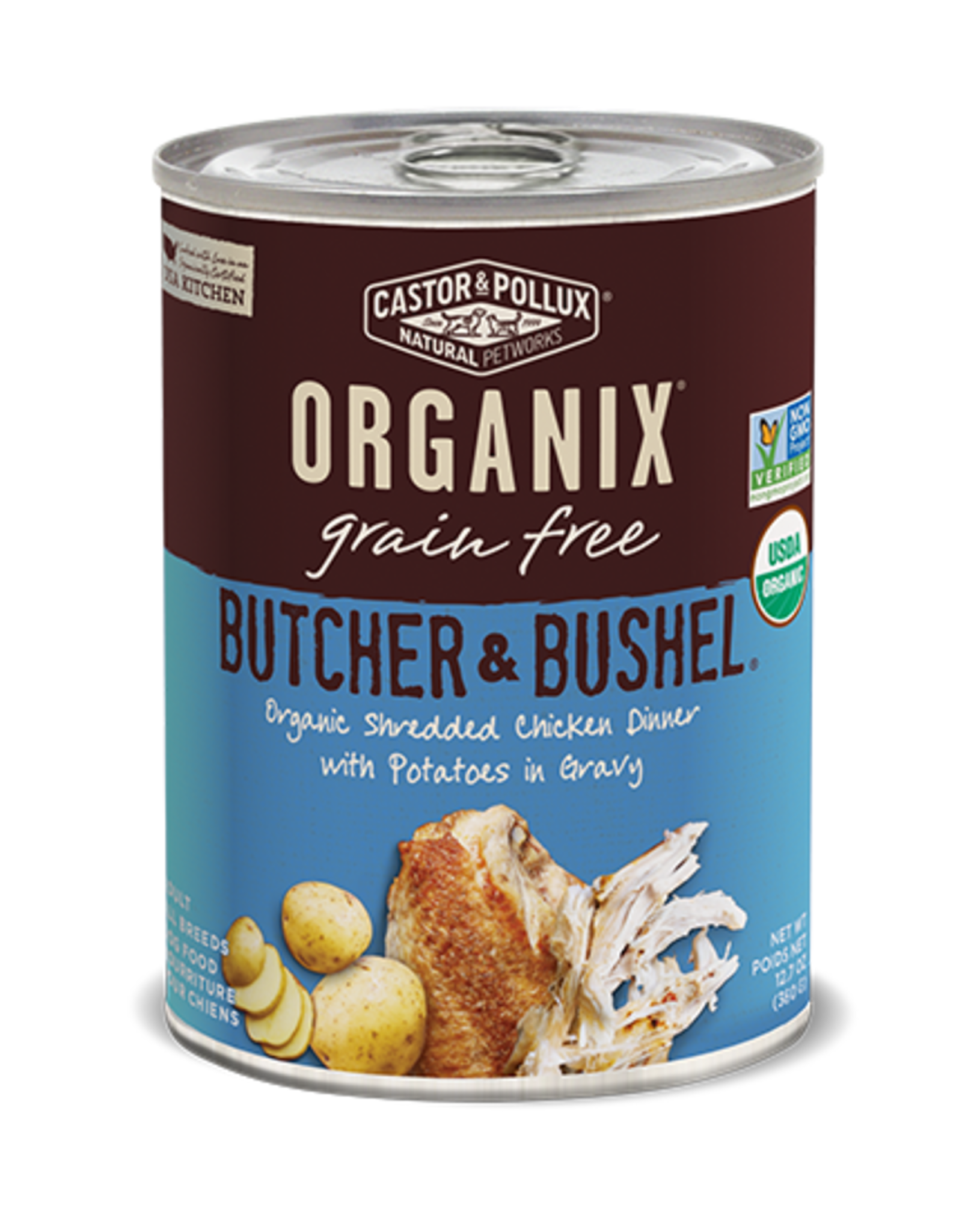 Castor & Pollux Castor & Pollux Organix Wet Dog Food Butcher & Bushel Organic Shredded Chicken Dinner With Potatoes In Gravy 12.7oz Can Grain Free