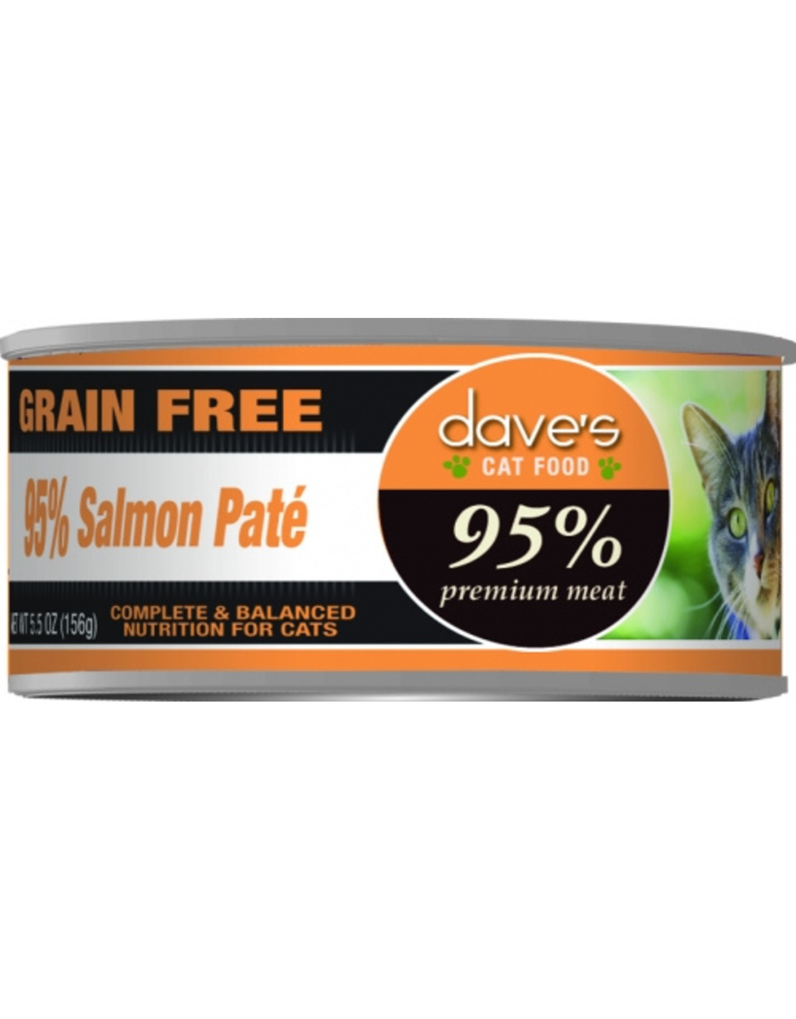 Dave's Pet Food Dave's Wet Cat Food 95% Salmon Pate 5.5oz Can Grain FreeSalmon 5.5oz