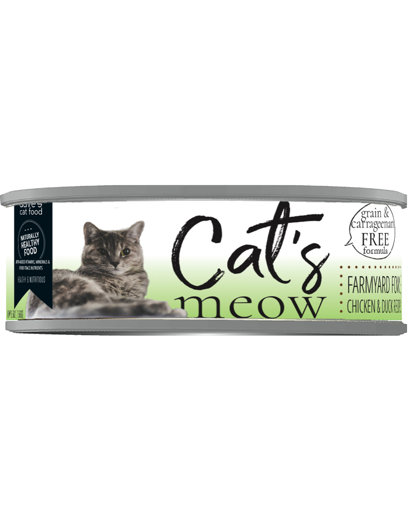Dave's Pet Food Dave's Wet Cat Food Cat's Meow Farmyard Fowl Chicken & Duck Recipe 5.5oz Can Grain Free