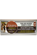 Dave's Pet Food Dave's Wet Cat Food Naturally Healthy Tuna & Mackerel Dinner in Gravy 5.5oz Can Grain Free