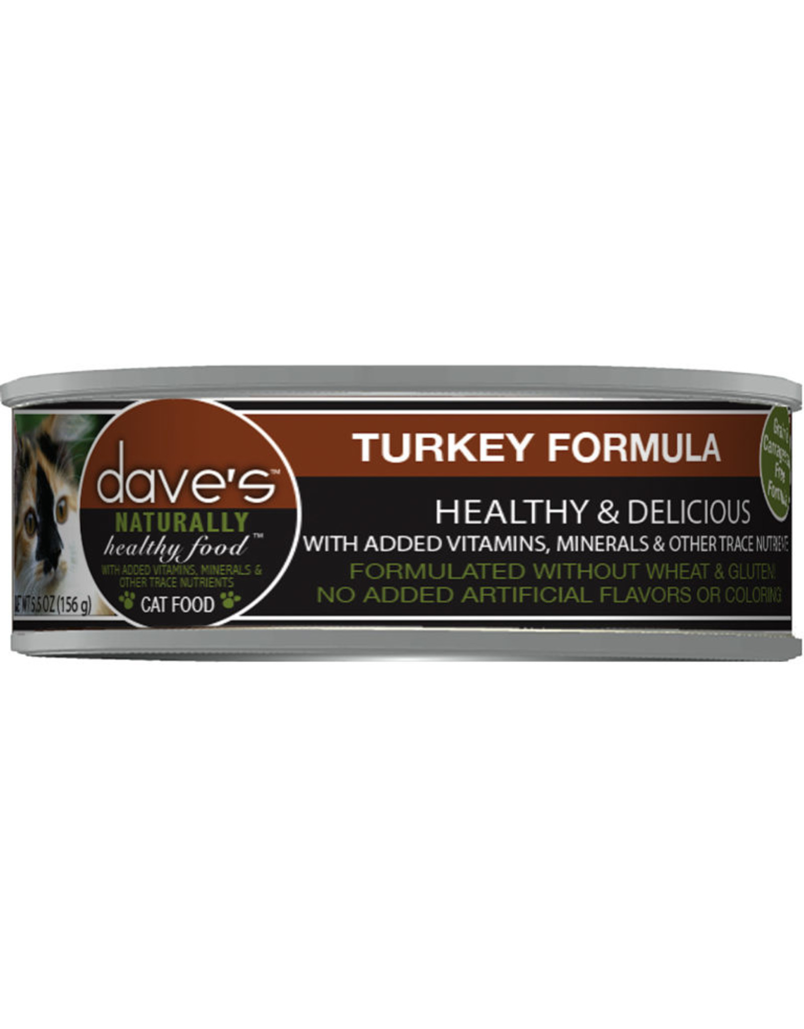 Dave's Pet Food Dave's Wet Cat Food Naturally Healthy Turkey Formula 5.5oz Can Grain Free