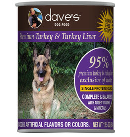 Dave's Pet Food Dave's Dog Can 95% Turkey & Liver 12.5oz