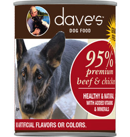 Dave's Pet Food Dave's Dog Can 95% Beef & Chicken 12.5oz