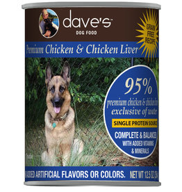 Dave's Pet Food Dave's Dog Can 95% Chicken & Liver 12.5oz