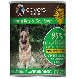 Dave's Pet Food Dave's Dog Can 95% Beef & Liver 12.5oz