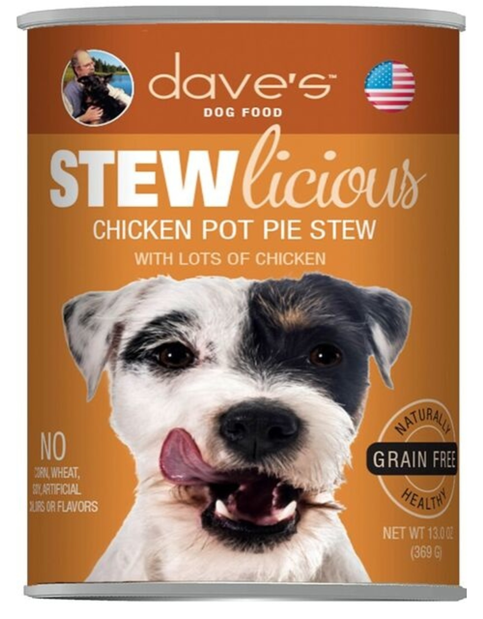 Dave's Pet Food Dave's Wet Dog Food Stewlicious Chicken Pot Pie 13oz Can Grain Free