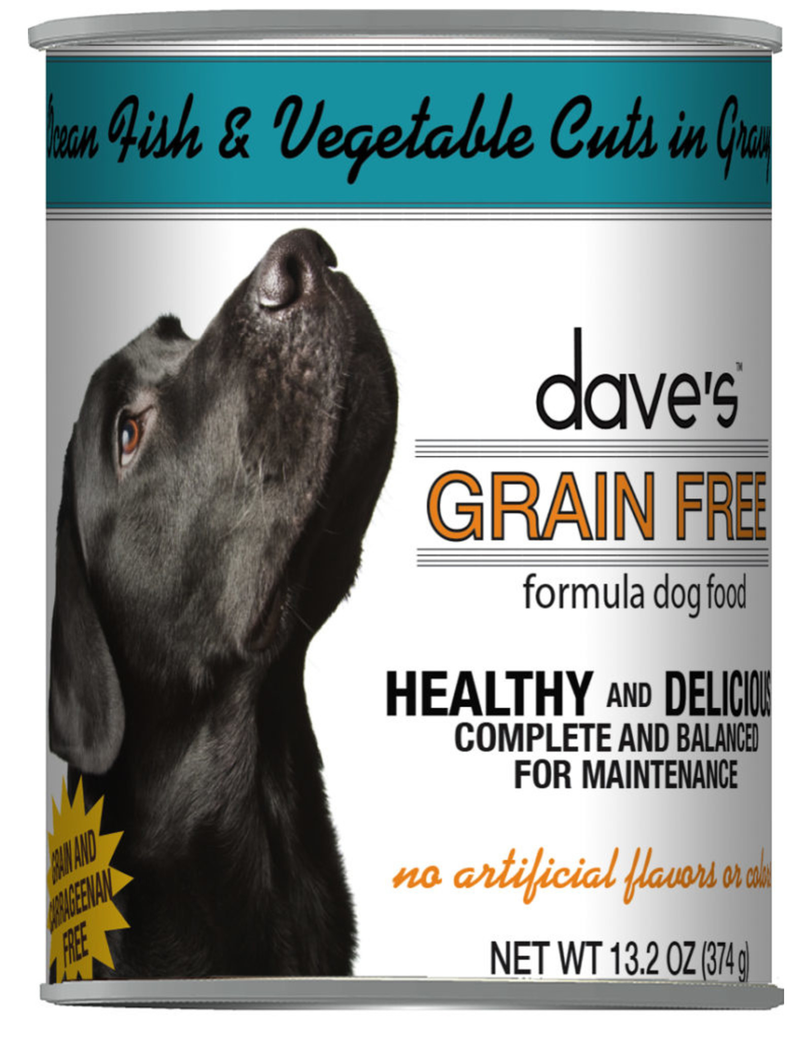Dave's Pet Food Dave's Wet Dog Food Grain Free Ocean Fish and Vegetable Cuts in Gravy 13oz Can