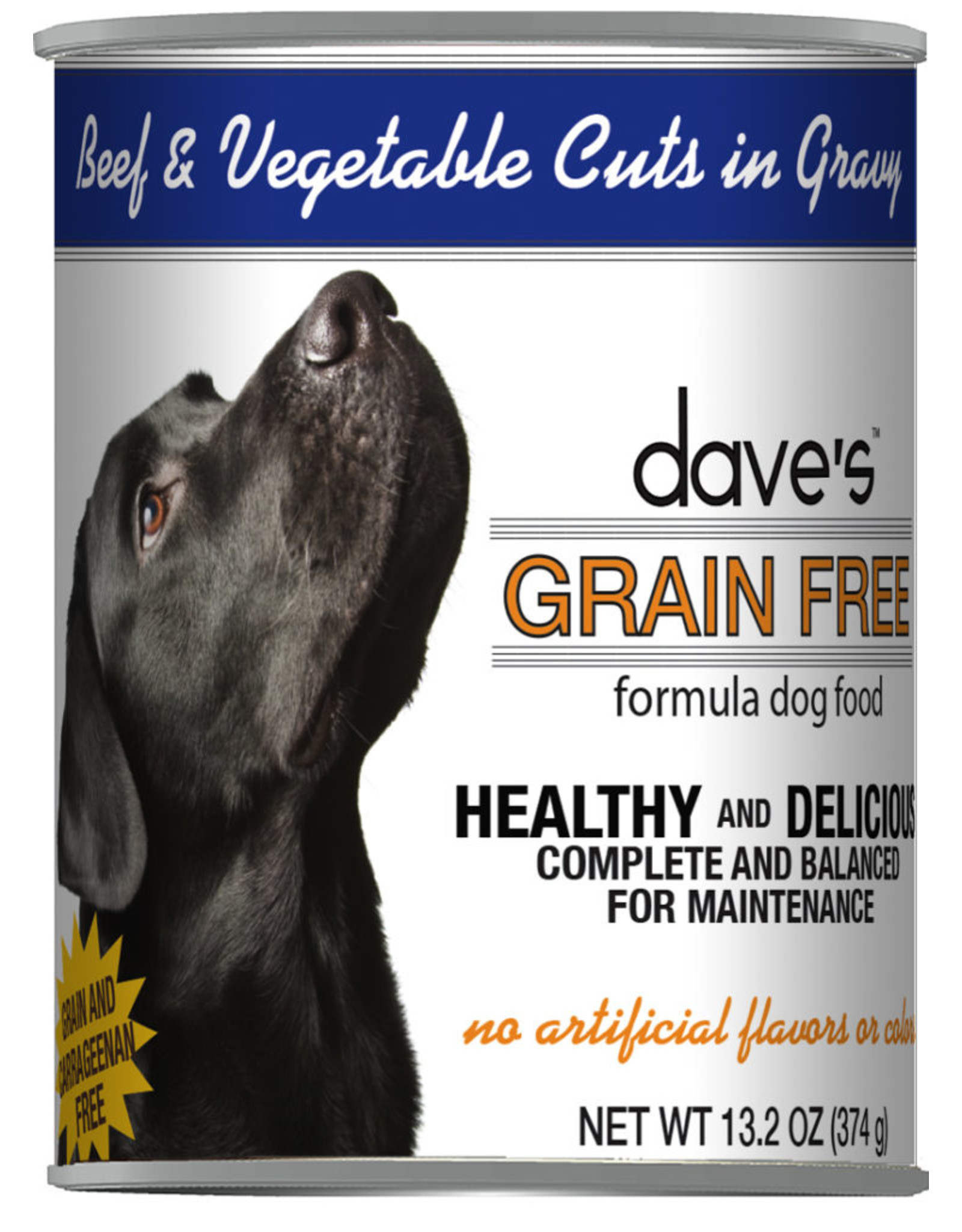 Dave's Pet Food Dave's Wet Dog Food Grain Free Beef and Vegetable Cuts in Gravy 13oz Can