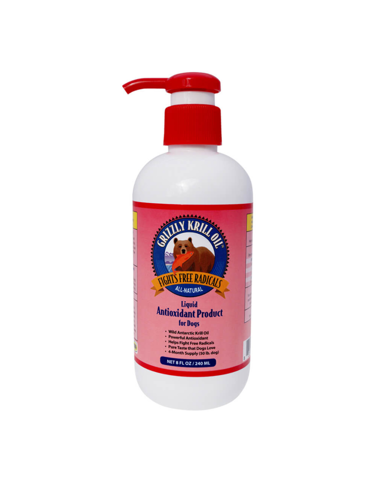 Grizzly Grizzly Pet Products Wild Alaskan Salmon Oil Dog Food Supplement 8oz Liquid Antioxidant