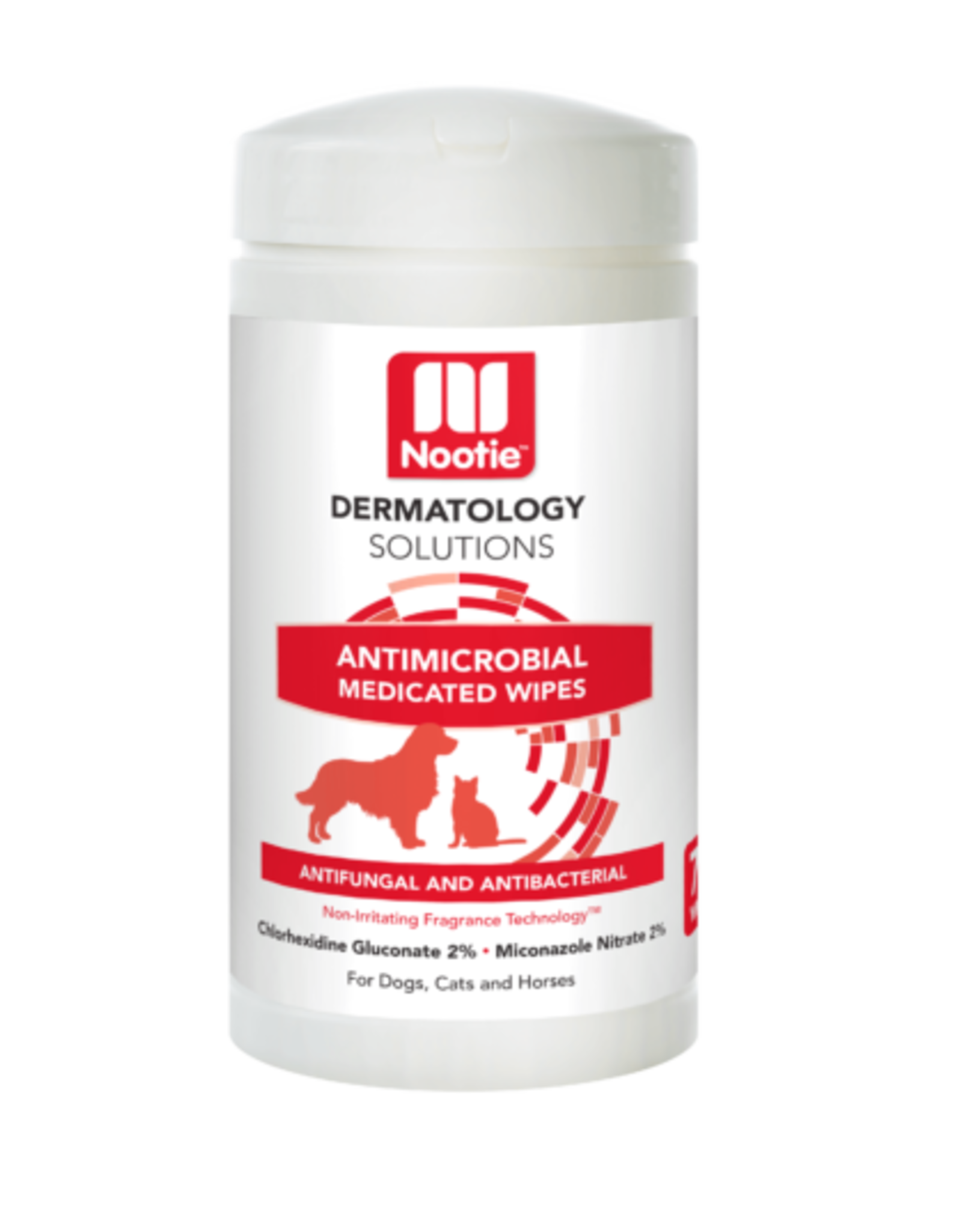 Nootie Nootie Dermatology Solutions Antimicrobial Medicated Wipes Antifungal and Antibacterial for Dogs Cats Horses70ct