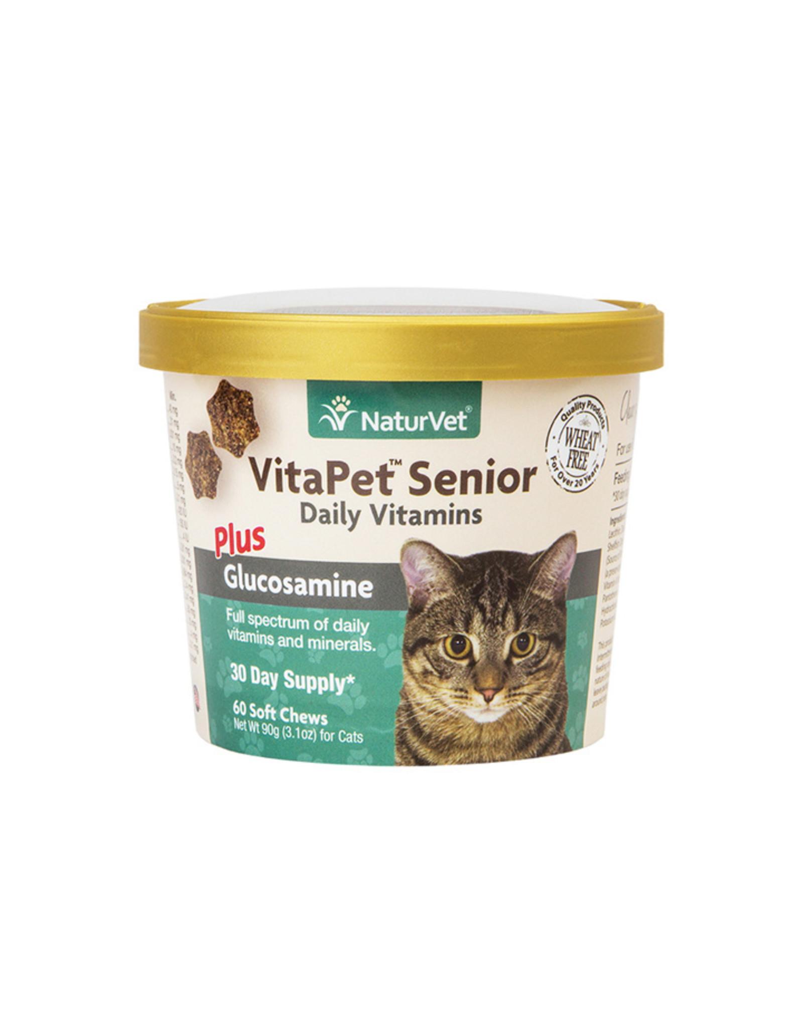 naturVet NaturVet Cat VitaPet Senior Daily Vitamins plus Glucosamine Chew 60ct