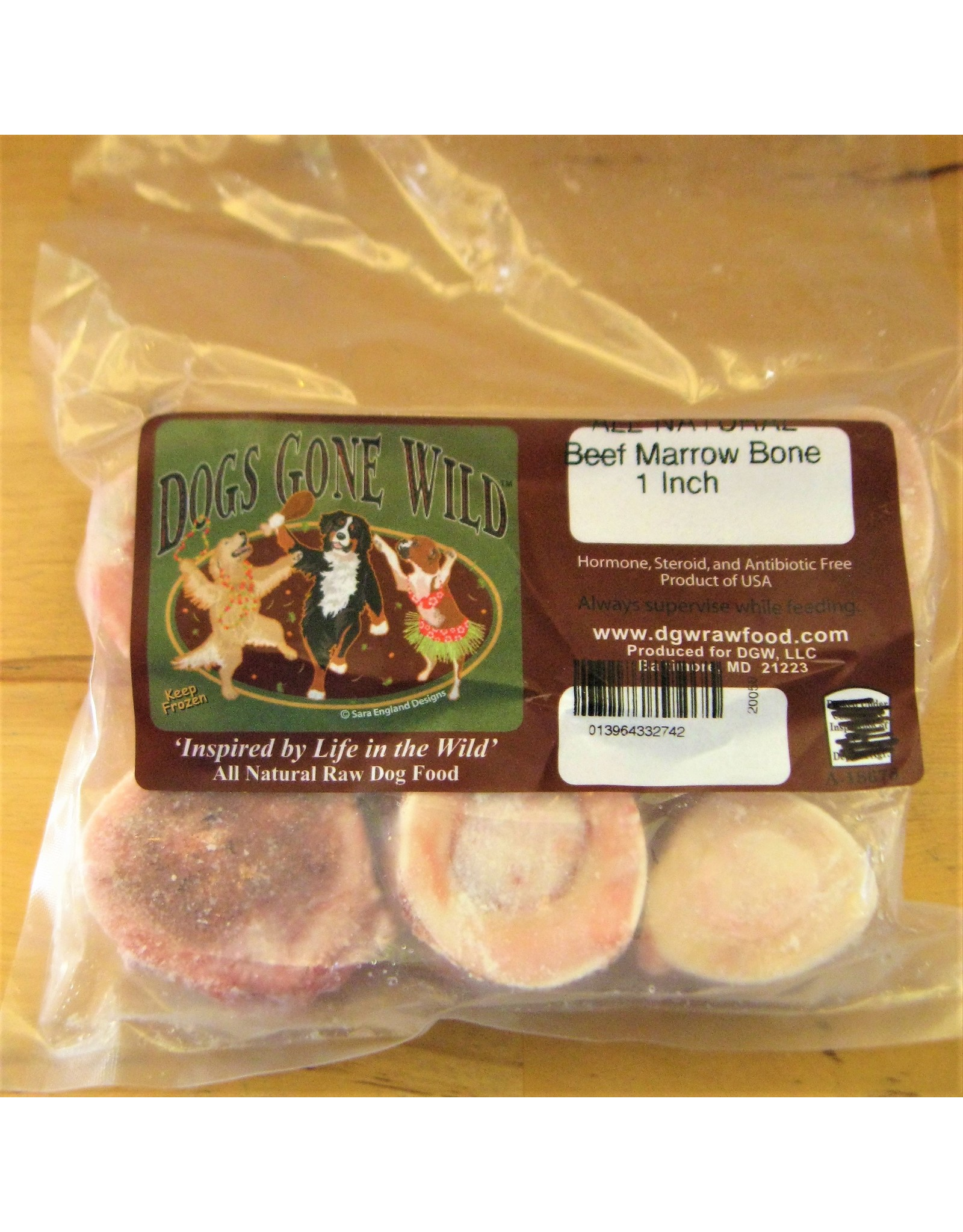 Dogs Gone Wild Dogs Gone Wild 1 inch Frozen Beef Marrow Bones 6pk