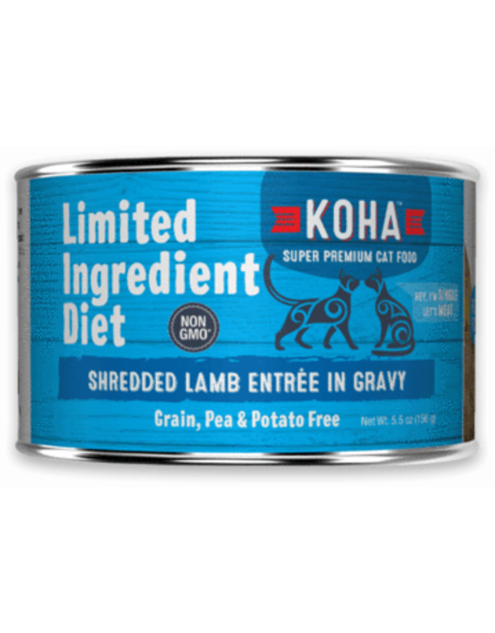 Koha Koha Wet Cat Food Limited Ingredient Diet Shredded Lamb Entree in Gravy 5.5oz Can Grain Free
