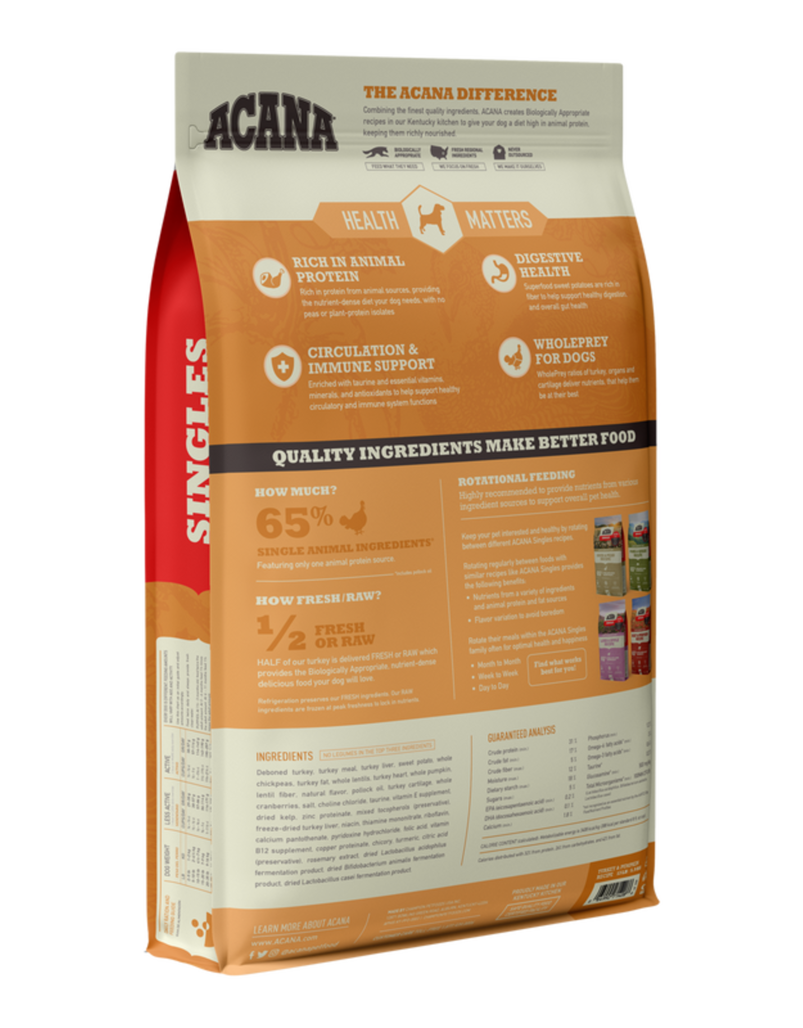 Acana Acana Dry Dog Food Singles Turkey & Pumpkin Formula Limited Ingredient Diet Grain Free